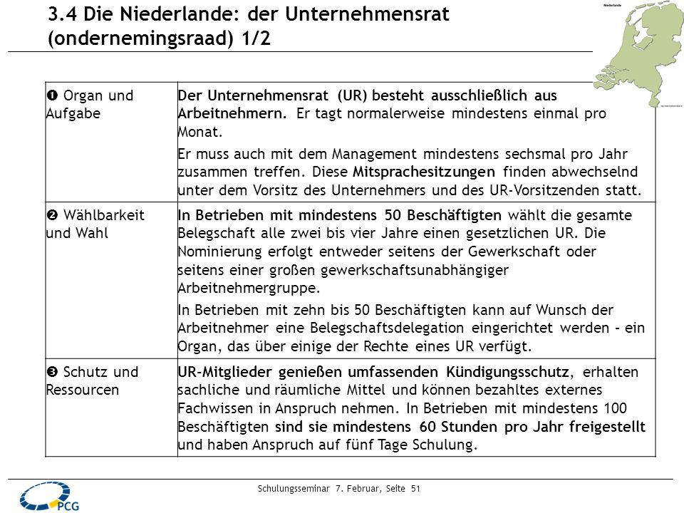 Schulungsseminar 7. Februar, Seite 51 3.4 Die Niederlande: der Unternehmensrat (ondernemingsraad) 1/2 Organ und Aufgabe Der Unternehmensrat (UR) beste
