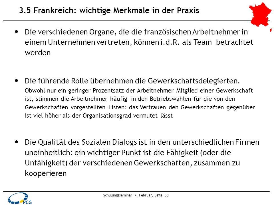 Schulungsseminar 7. Februar, Seite 58 3.5 Frankreich: wichtige Merkmale in der Praxis Die verschiedenen Organe, die die französischen Arbeitnehmer in