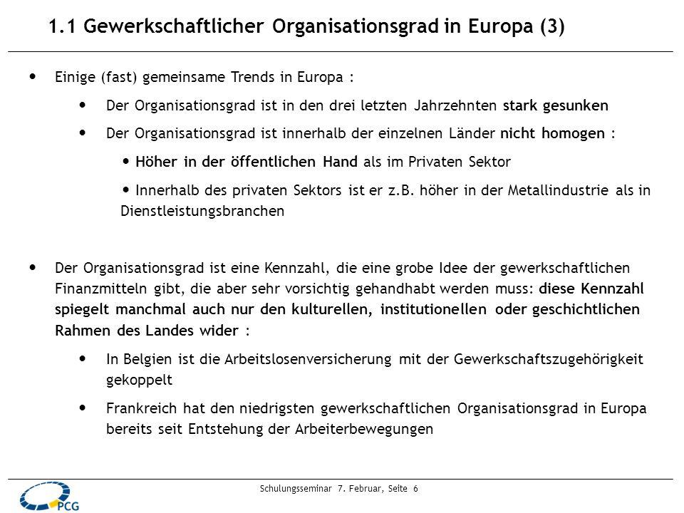 Schulungsseminar 7. Februar, Seite 6 1.1 Gewerkschaftlicher Organisationsgrad in Europa (3) Einige (fast) gemeinsame Trends in Europa : Der Organisati
