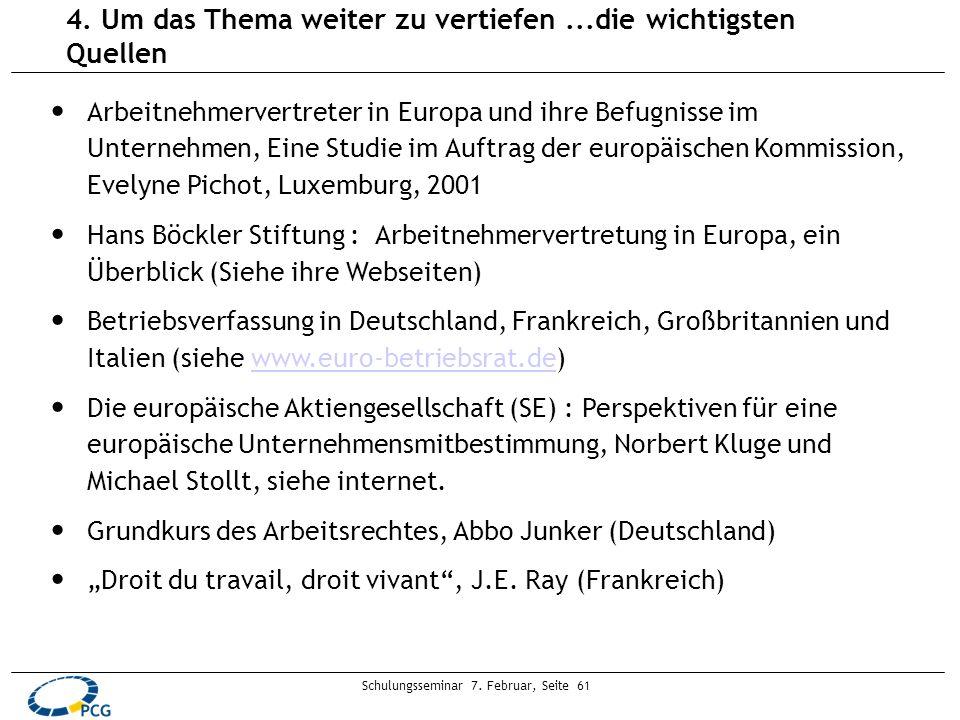 Schulungsseminar 7. Februar, Seite 61 4. Um das Thema weiter zu vertiefen...die wichtigsten Quellen Arbeitnehmervertreter in Europa und ihre Befugniss