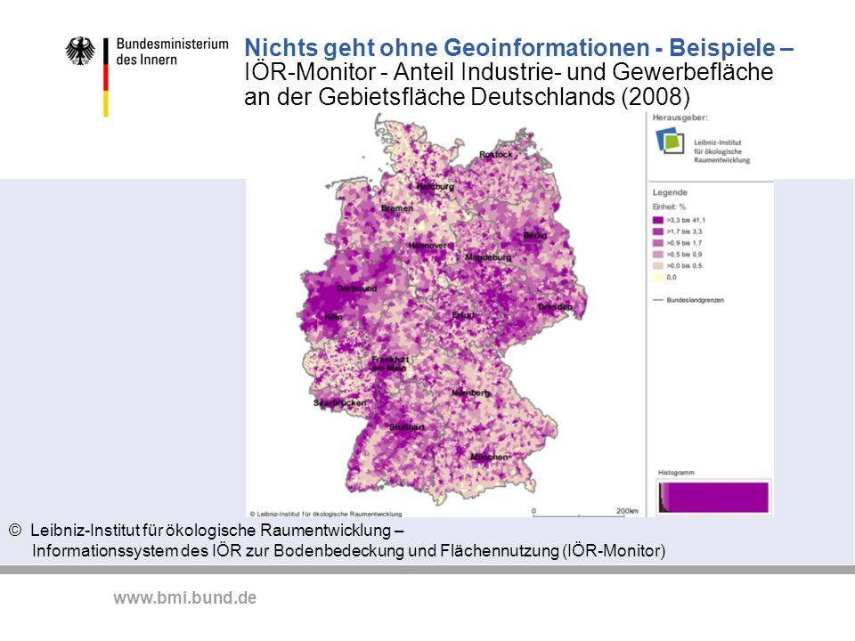 www.bmi.bund.de Nichts geht ohne Geoinformationen - Beispiele – IÖR-Monitor - Anteil Industrie- und Gewerbefläche an der Gebietsfläche Deutschlands (2