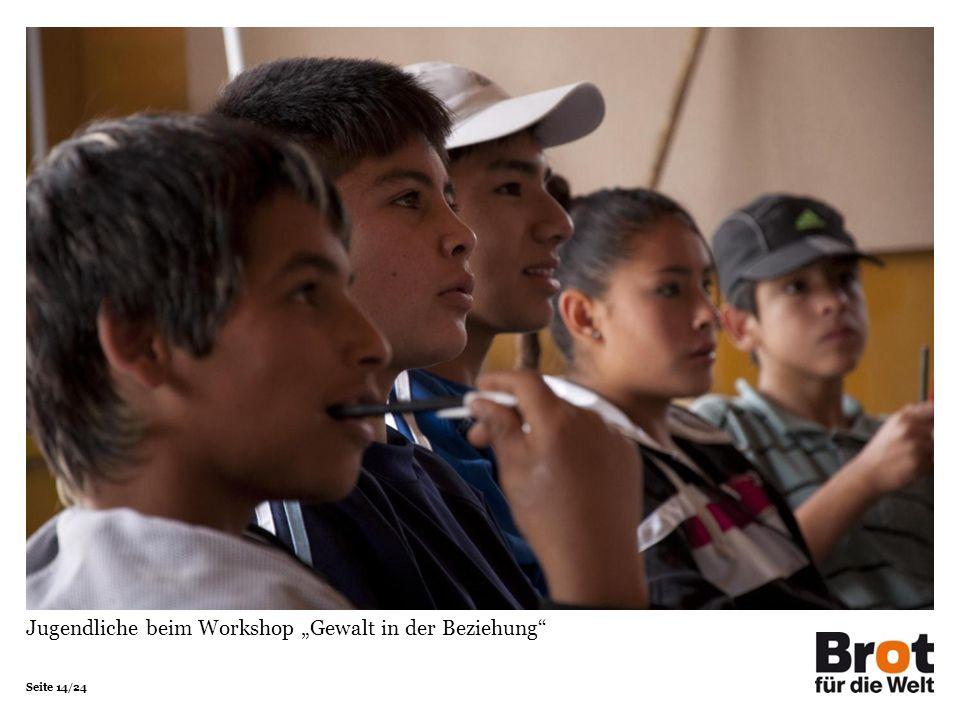 Seite 14/24 Jugendliche beim Workshop Gewalt in der Beziehung