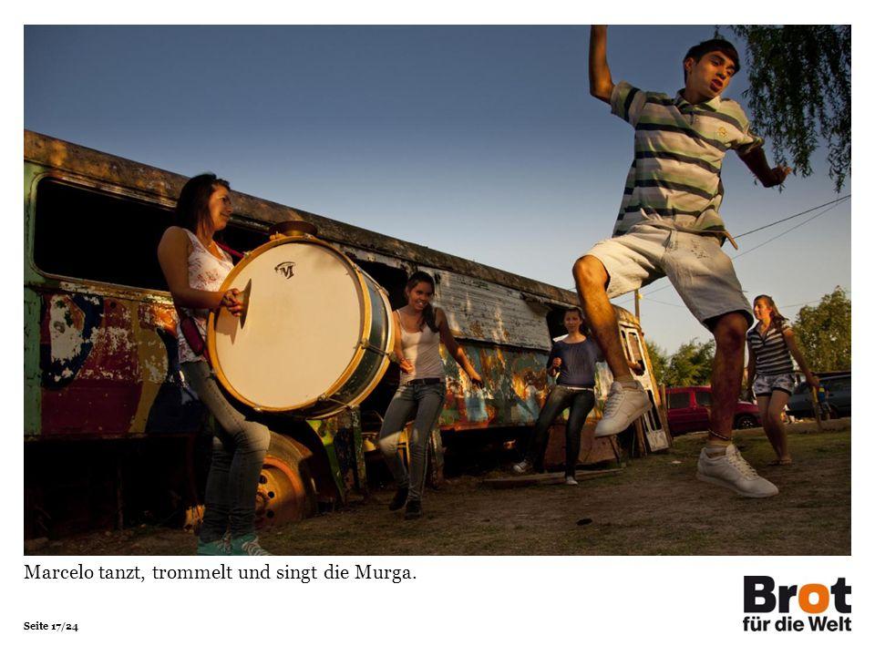 Seite 17/24 Marcelo tanzt, trommelt und singt die Murga.