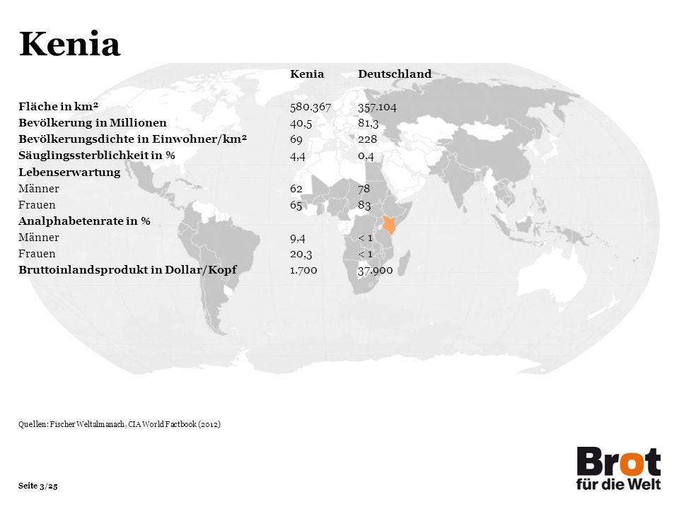 Seite 3/25 Kenia Kenia Deutschland Fläche in km²580.367357.104 Bevölkerung in Millionen 40,581,3 Bevölkerungsdichte in Einwohner/km²69228 Säuglingsste