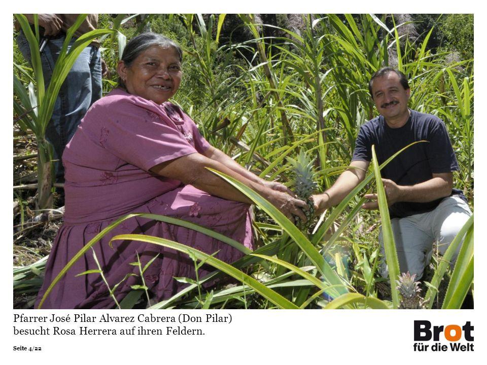 Seite 4/22 Pfarrer José Pilar Alvarez Cabrera (Don Pilar) besucht Rosa Herrera auf ihren Feldern.