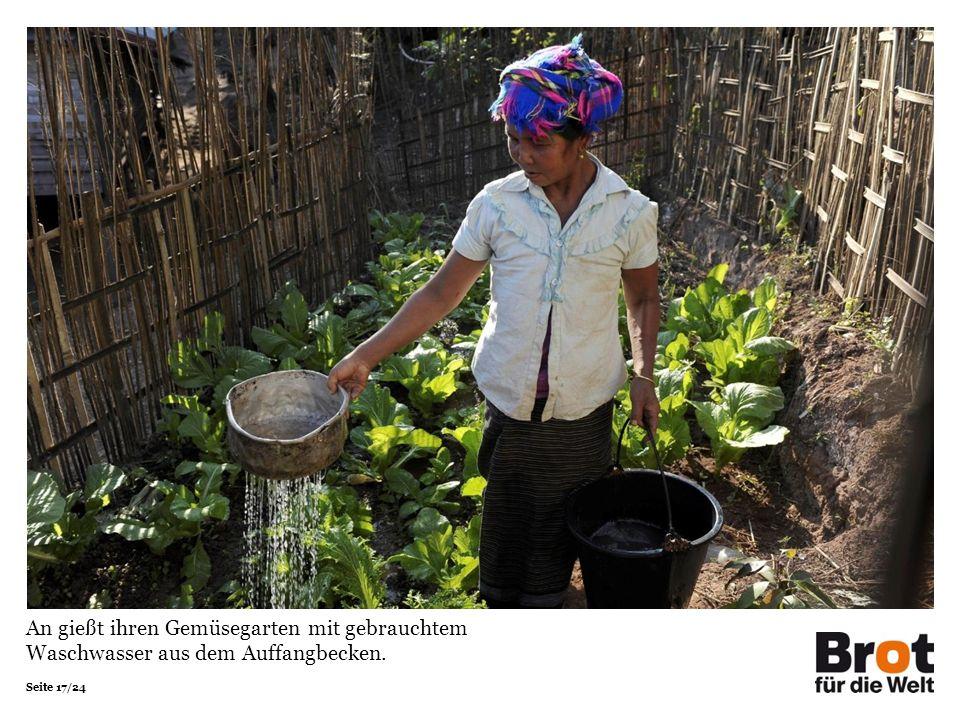 Seite 17/24 An gießt ihren Gemüsegarten mit gebrauchtem Waschwasser aus dem Auffangbecken.