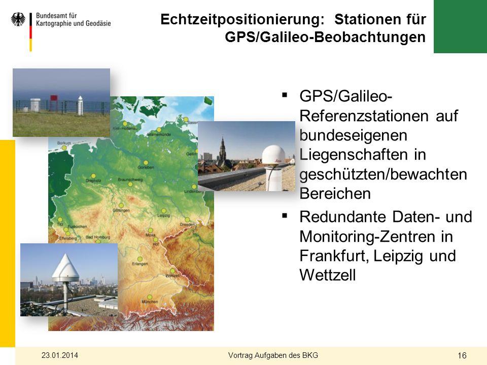 Echtzeitpositionierung: Stationen für GPS/Galileo-Beobachtungen GPS/Galileo- Referenzstationen auf bundeseigenen Liegenschaften in geschützten/bewacht