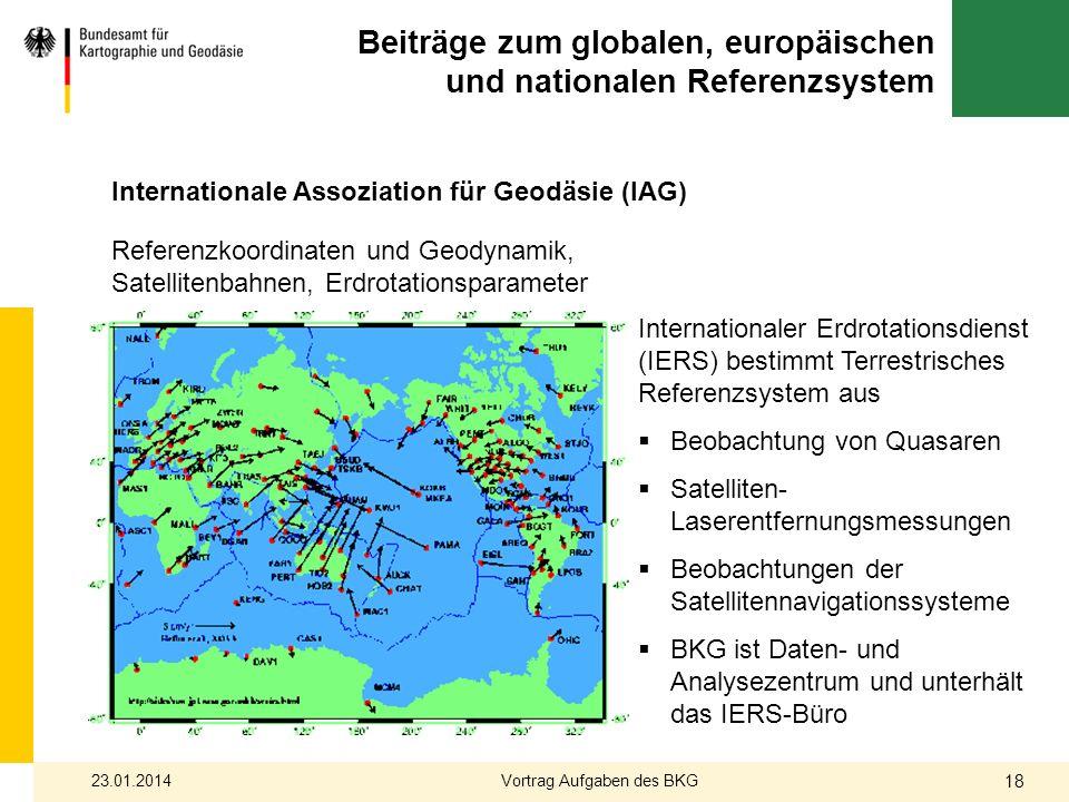 Beiträge zum globalen, europäischen und nationalen Referenzsystem Internationaler Erdrotationsdienst (IERS) bestimmt Terrestrisches Referenzsystem aus