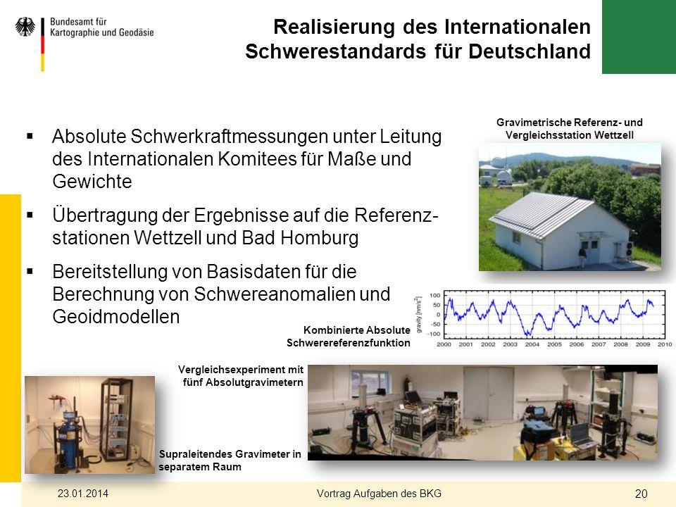 Realisierung des Internationalen Schwerestandards für Deutschland Supraleitendes Gravimeter in separatem Raum Vergleichsexperiment mit fünf Absolutgra