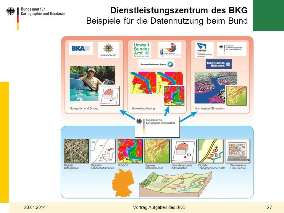 Dienstleistungszentrum des BKG Beispiele für die Datennutzung beim Bund 23.01.2014 27 Vortrag Aufgaben des BKG