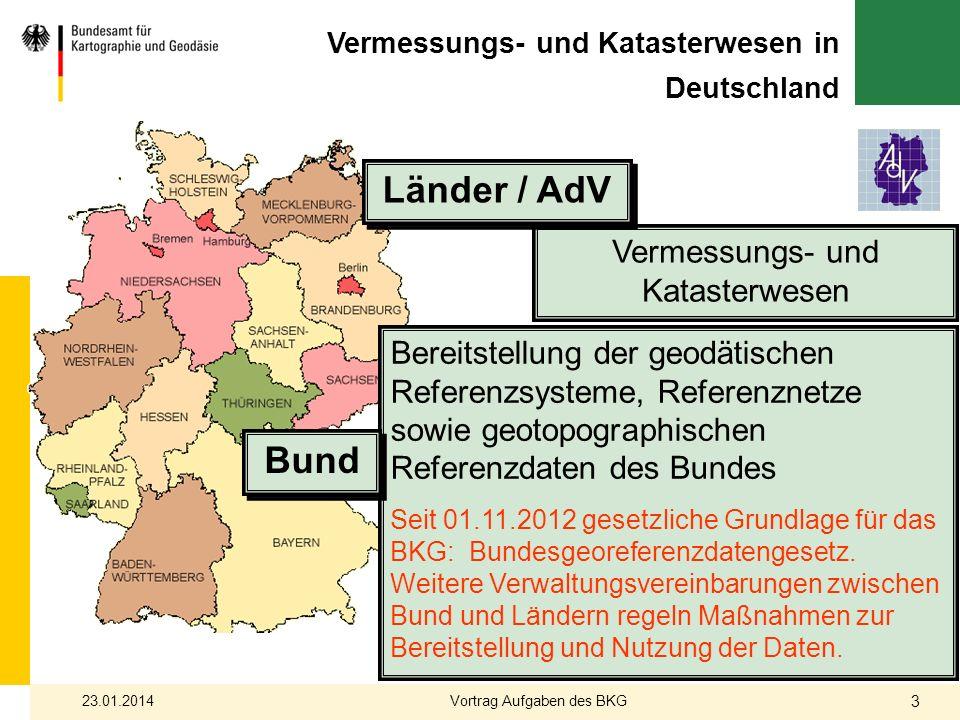 Vermessungs- und Katasterwesen in Deutschland Vermessungs- und Katasterwesen Bereitstellung der geodätischen Referenzsysteme, Referenznetze sowie geot
