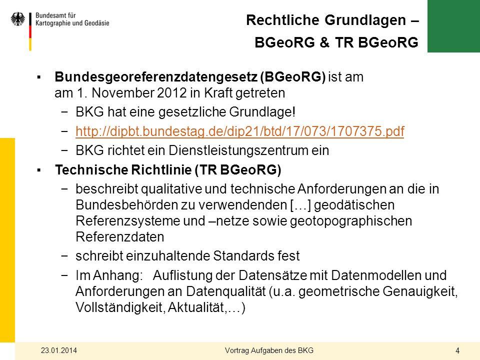 Rechtliche Grundlagen – BGeoRG & TR BGeoRG Bundesgeoreferenzdatengesetz (BGeoRG) ist am am 1. November 2012 in Kraft getreten BKG hat eine gesetzliche