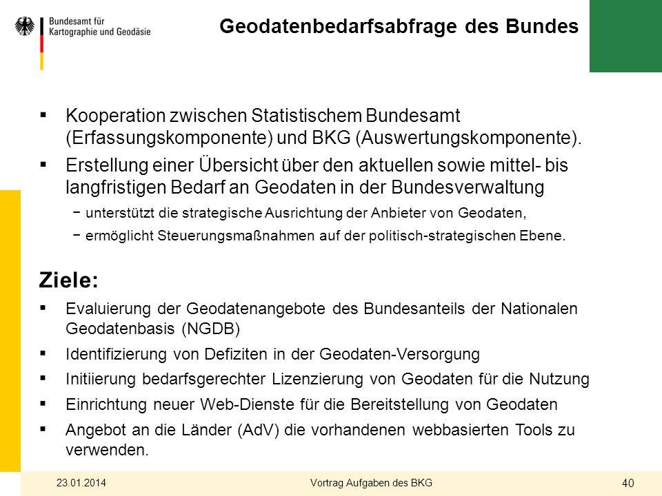 Geodatenbedarfsabfrage des Bundes Kooperation zwischen Statistischem Bundesamt (Erfassungskomponente) und BKG (Auswertungskomponente). Erstellung eine