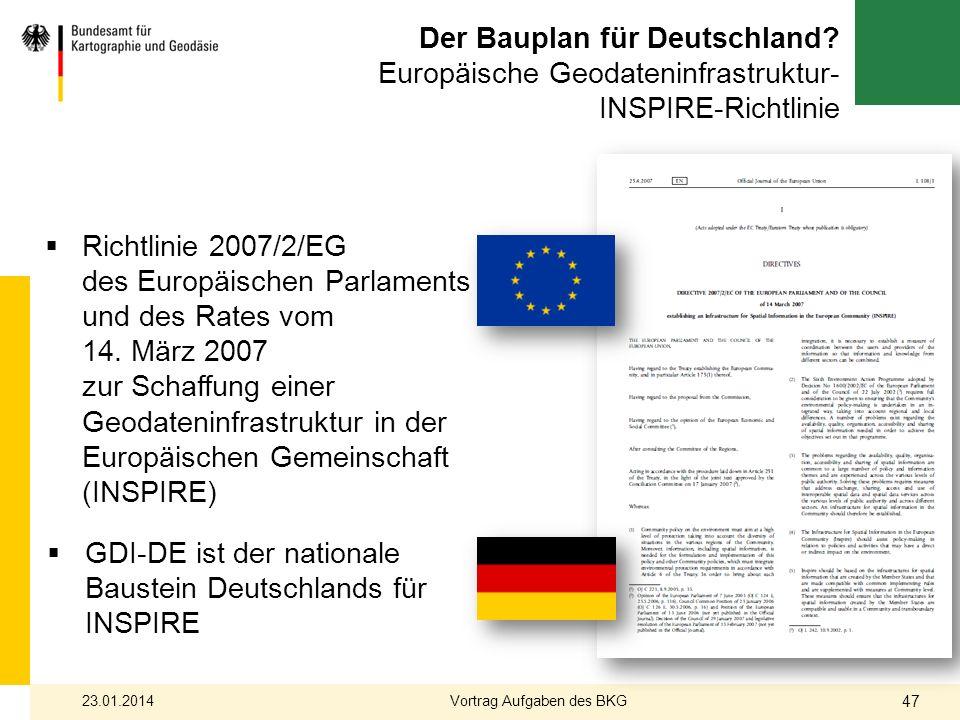 Der Bauplan für Deutschland? Europäische Geodateninfrastruktur- INSPIRE-Richtlinie Richtlinie 2007/2/EG des Europäischen Parlaments und des Rates vom