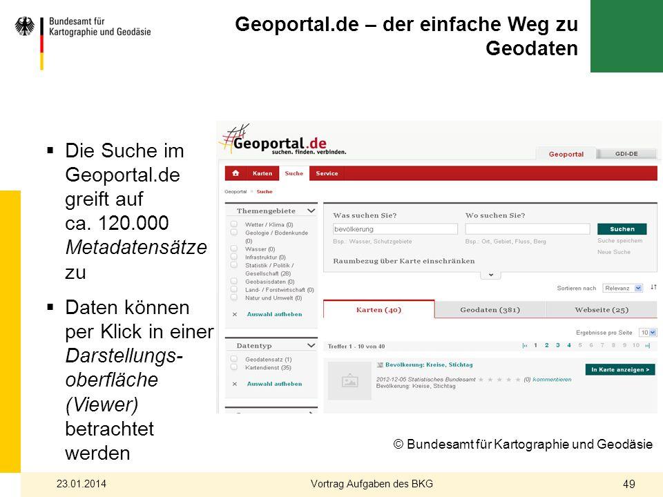 Die Suche im Geoportal.de greift auf ca. 120.000 Metadatensätze zu Daten können per Klick in einer Darstellungs- oberfläche (Viewer) betrachtet werden