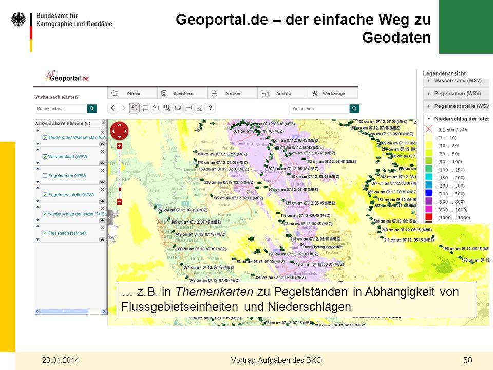 … z.B. in Themenkarten zu Pegelständen in Abhängigkeit von Flussgebietseinheiten und Niederschlägen Geoportal.de – der einfache Weg zu Geodaten 23.01.