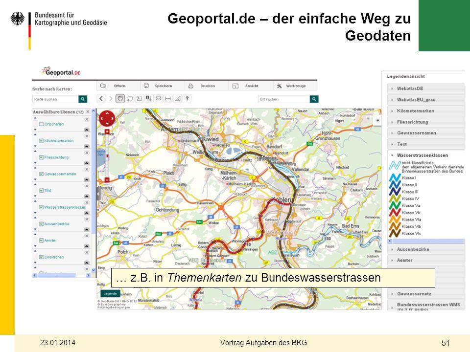 Geoportal.de – der einfache Weg zu Geodaten … z.B. in Themenkarten zu Bundeswasserstrassen 23.01.2014 51 Vortrag Aufgaben des BKG
