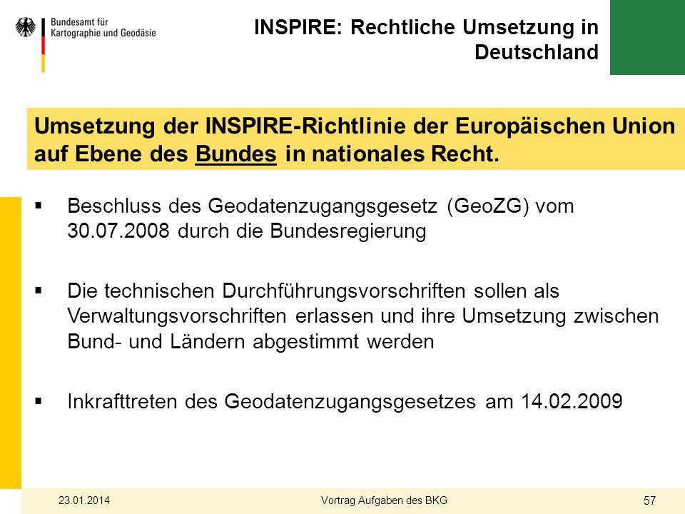 Umsetzung der INSPIRE-Richtlinie der Europäischen Union auf Ebene des Bundes in nationales Recht. INSPIRE: Rechtliche Umsetzung in Deutschland Beschlu
