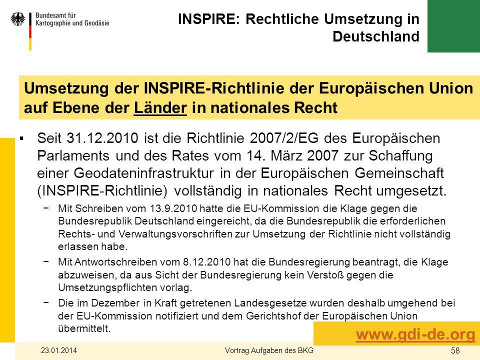 INSPIRE: Rechtliche Umsetzung in Deutschland Seit 31.12.2010 ist die Richtlinie 2007/2/EG des Europäischen Parlaments und des Rates vom 14. März 2007