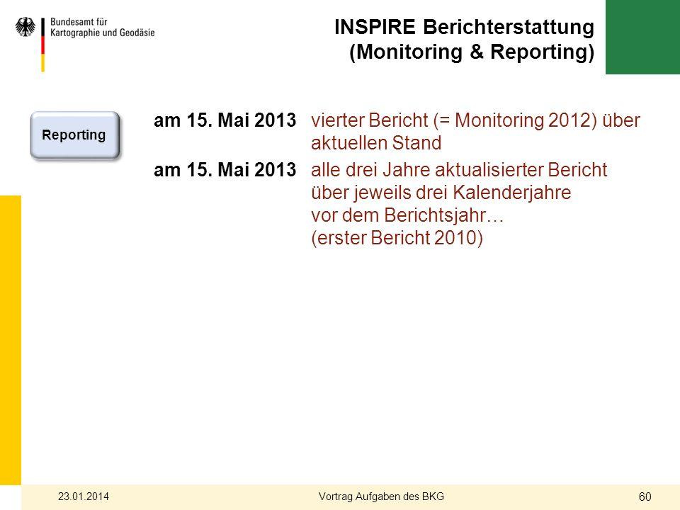 am 15. Mai 2013 vierter Bericht (= Monitoring 2012) über aktuellen Stand am 15. Mai 2013 alle drei Jahre aktualisierter Bericht über jeweils drei Kale