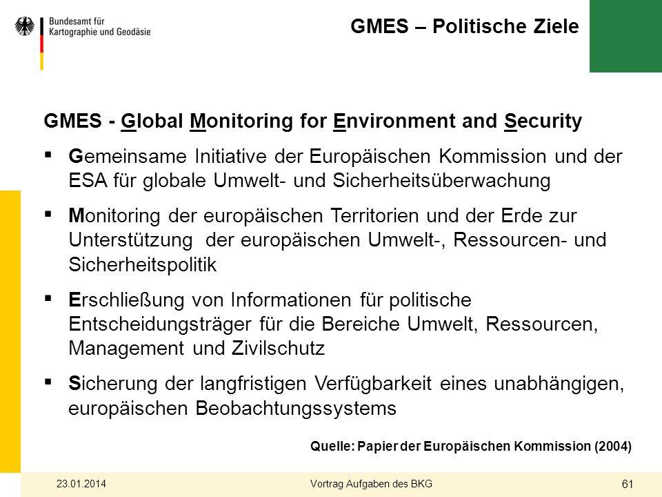 GMES – Politische Ziele GMES - Global Monitoring for Environment and Security Gemeinsame Initiative der Europäischen Kommission und der ESA für global