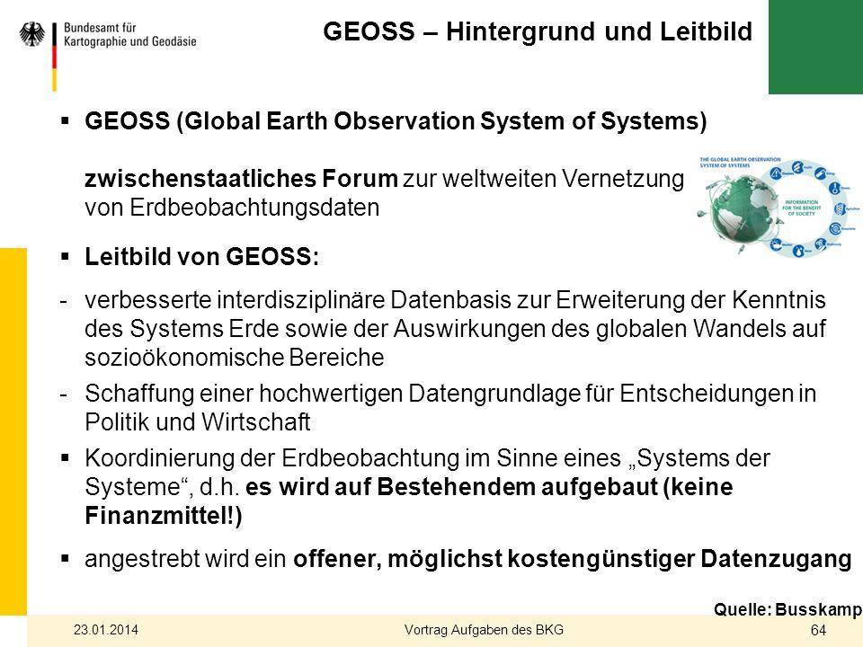 Leitbild von GEOSS: -verbesserte interdisziplinäre Datenbasis zur Erweiterung der Kenntnis des Systems Erde sowie der Auswirkungen des globalen Wandel