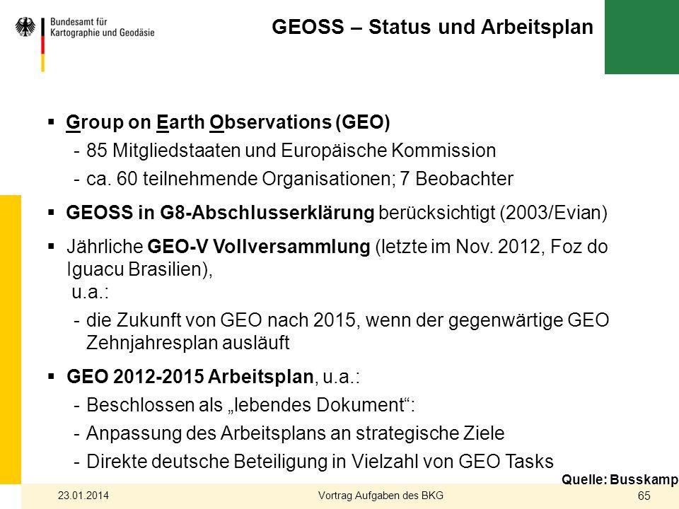 Quelle: Busskamp Group on Earth Observations (GEO) -85 Mitgliedstaaten und Europäische Kommission -ca. 60 teilnehmende Organisationen; 7 Beobachter GE