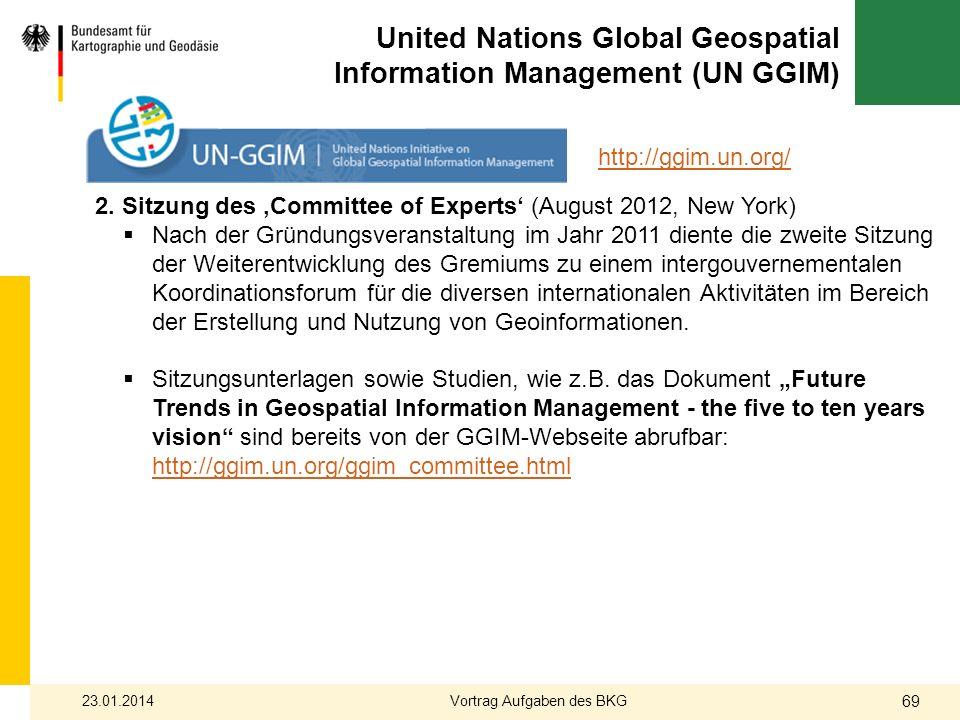 United Nations Global Geospatial Information Management (UN GGIM) 2. Sitzung des Committee of Experts (August 2012, New York) Nach der Gründungsverans