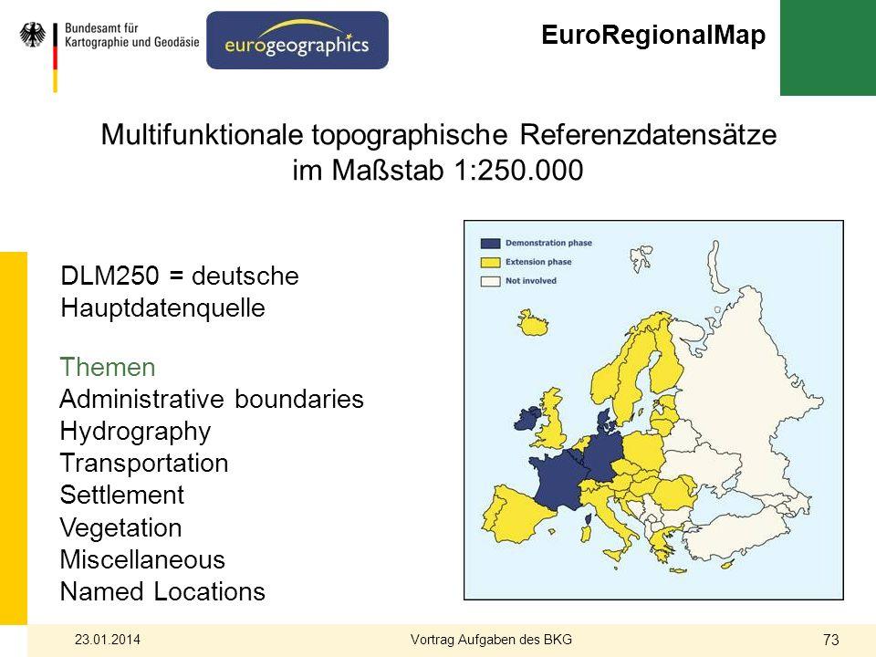 DLM250 = deutsche Hauptdatenquelle Multifunktionale topographische Referenzdatensätze im Maßstab 1:250.000 Themen Administrative boundaries Hydrograph