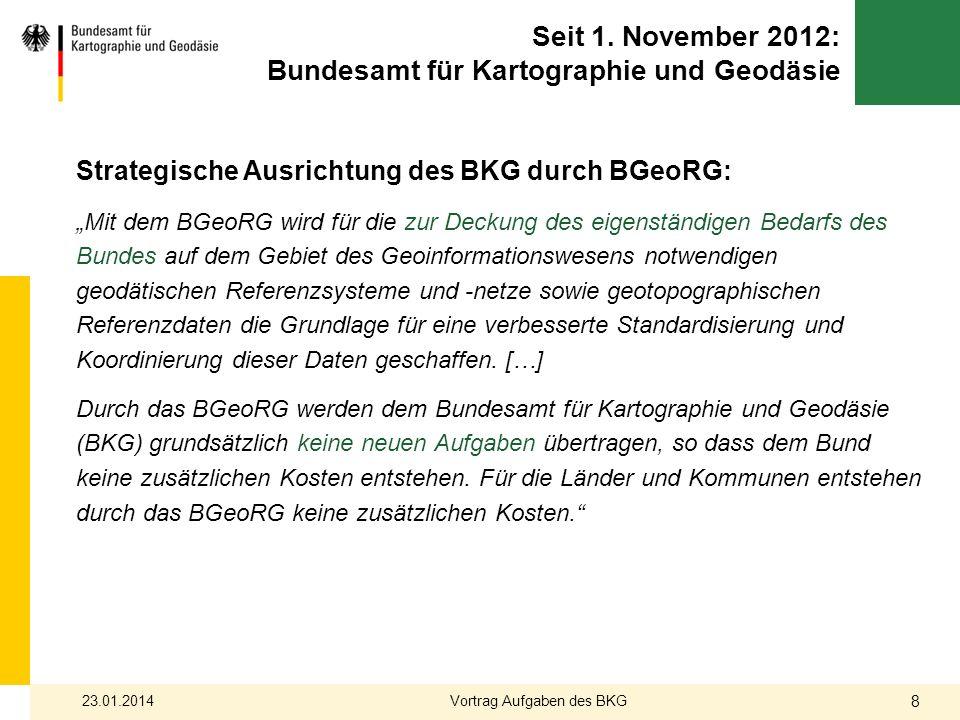 Seit 1. November 2012: Bundesamt für Kartographie und Geodäsie Strategische Ausrichtung des BKG durch BGeoRG: Mit dem BGeoRG wird für die zur Deckung
