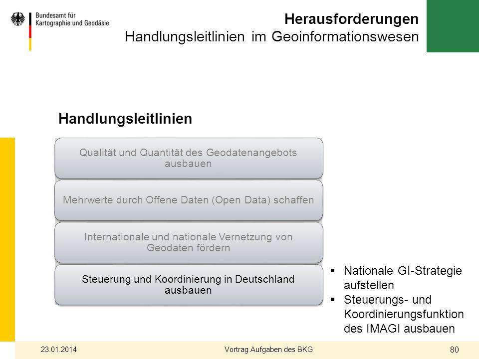 Herausforderungen Handlungsleitlinien im Geoinformationswesen Handlungsleitlinien Nationale GI-Strategie aufstellen Steuerungs- und Koordinierungsfunk