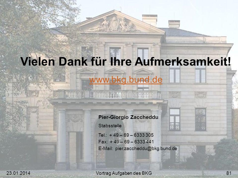 Vielen Dank für Ihre Aufmerksamkeit! www.bkg.bund.de Pier-Giorgio Zaccheddu Stabsstelle Tel.: + 49 – 69 – 6333 305 Fax: + 49 – 69 – 6333 441 E-Mail: p
