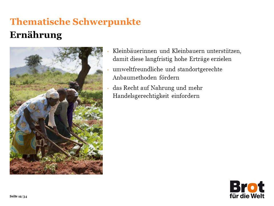 Seite 12/34 Kleinbäuerinnen und Kleinbauern unterstützen, damit diese langfristig hohe Erträge erzielen umweltfreundliche und standortgerechte Anbaume