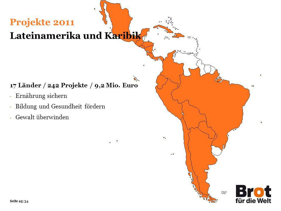Seite 25/34 Lateinamerika und Karibik 17 Länder / 242 Projekte / 9,2 Mio. Euro Ernährung sichern Bildung und Gesundheit fördern Gewalt überwinden Proj
