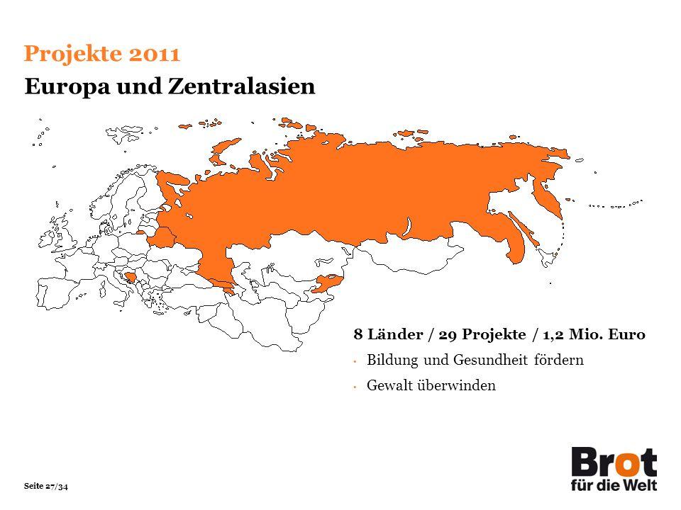 Seite 27/34 Europa und Zentralasien 8 Länder / 29 Projekte / 1,2 Mio. Euro Bildung und Gesundheit fördern Gewalt überwinden Projekte 2011