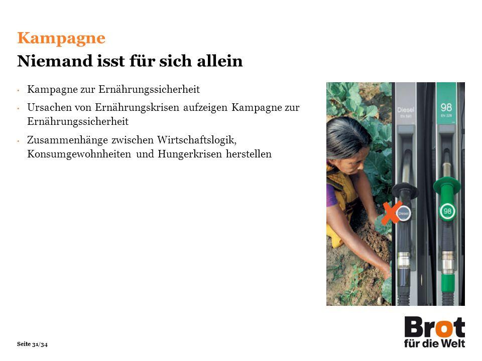 Seite 31/34 Kampagne Niemand isst für sich allein Kampagne zur Ernährungssicherheit Ursachen von Ernährungskrisen aufzeigen Kampagne zur Ernährungssic