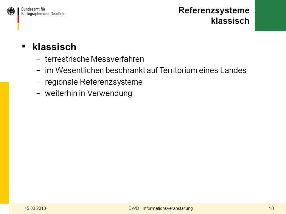 Referenzsysteme klassisch klassisch terrestrische Messverfahren im Wesentlichen beschränkt auf Territorium eines Landes regionale Referenzsysteme weit