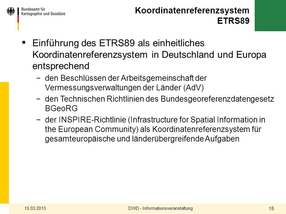 Koordinatenreferenzsystem ETRS89 Einführung des ETRS89 als einheitliches Koordinatenreferenzsystem in Deutschland und Europa entsprechend den Beschlüs