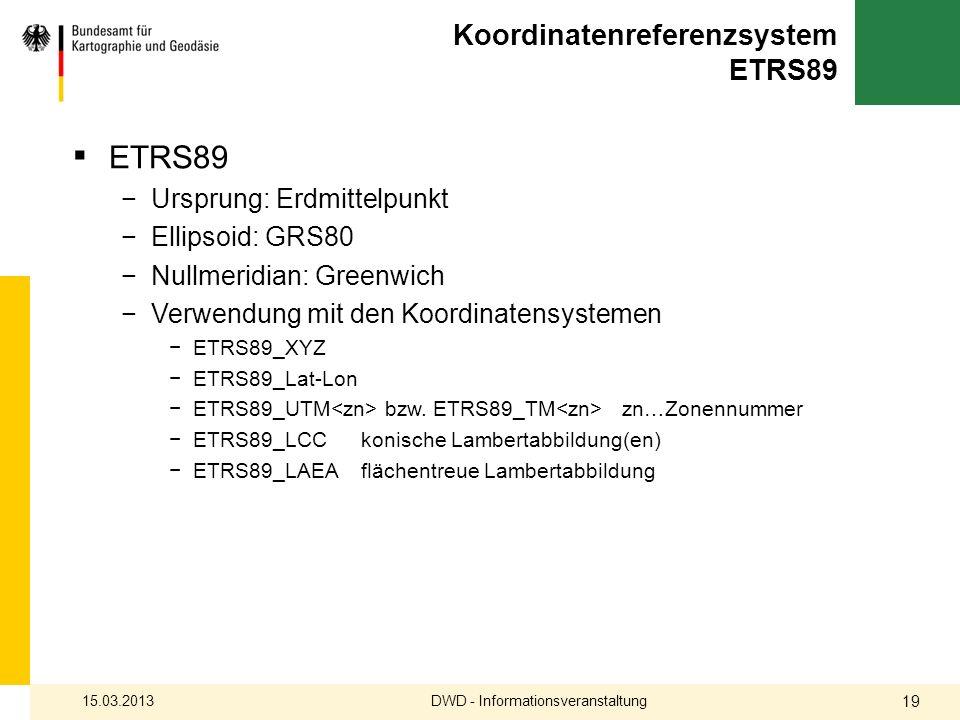 Koordinatenreferenzsystem ETRS89 ETRS89 Ursprung: Erdmittelpunkt Ellipsoid: GRS80 Nullmeridian: Greenwich Verwendung mit den Koordinatensystemen ETRS8