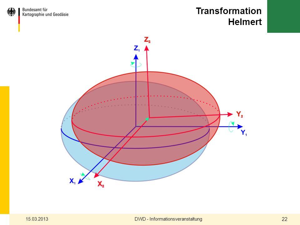Transformation Helmert DWD - Informationsveranstaltung15.03.2013 22