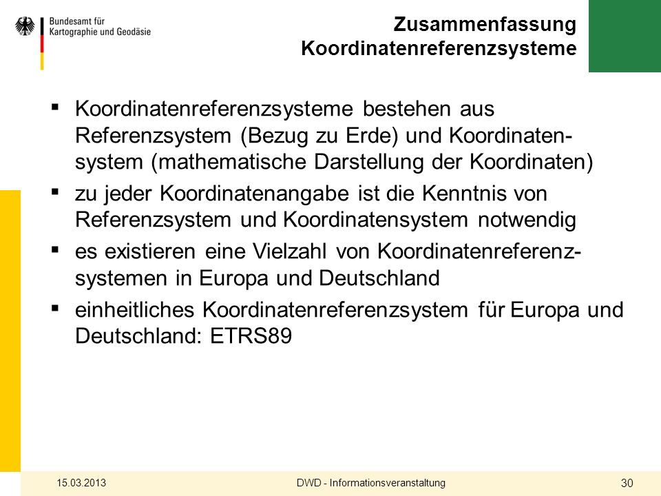 Zusammenfassung Koordinatenreferenzsysteme Koordinatenreferenzsysteme bestehen aus Referenzsystem (Bezug zu Erde) und Koordinaten- system (mathematisc