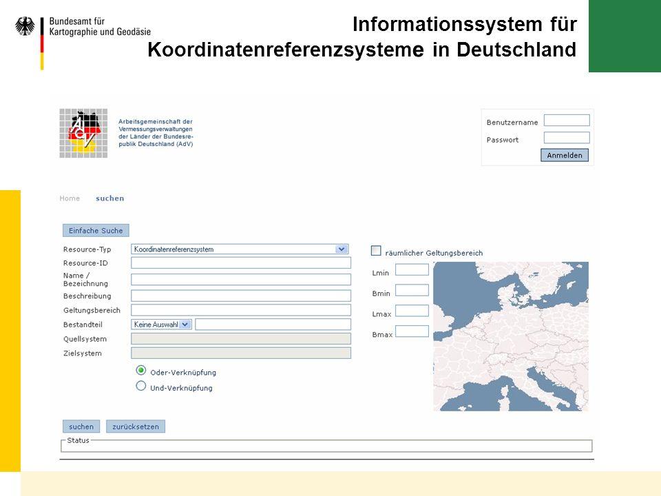 Informationssystem für Koordinatenreferenzsystem e in Deutschland