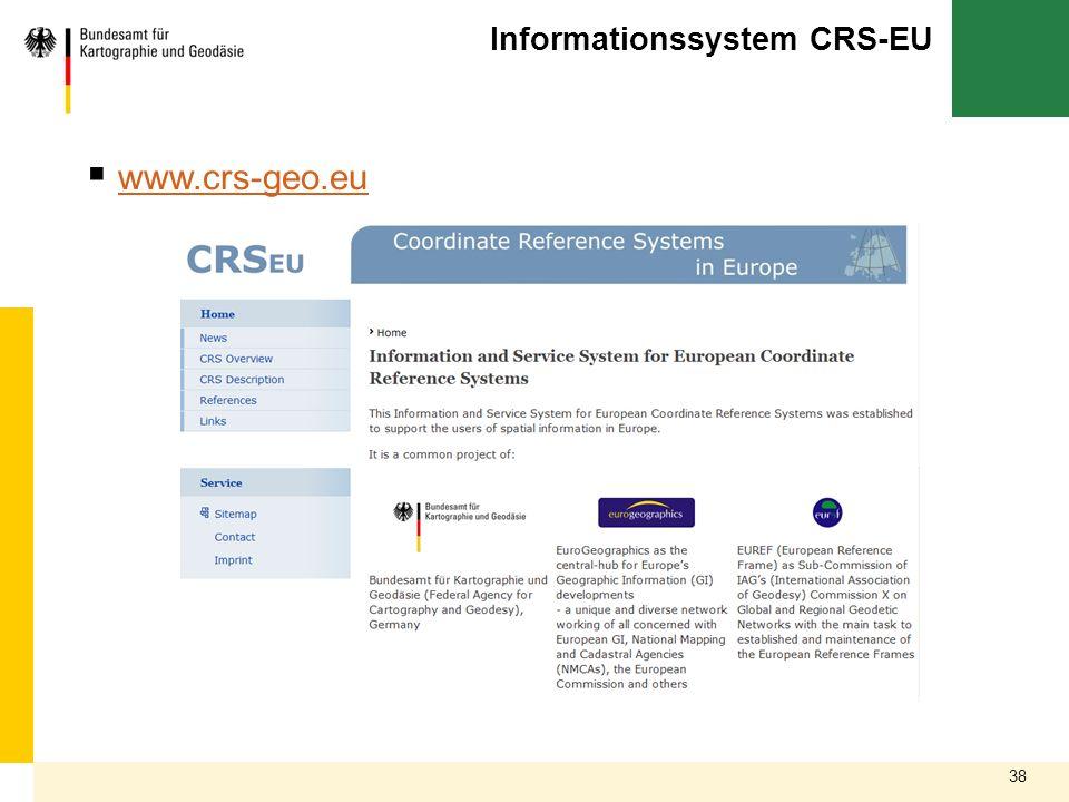38 Informationssystem CRS-EU www.crs-geo.eu