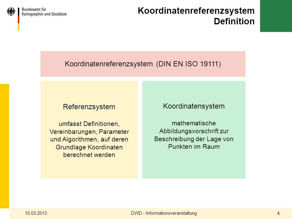 Koordinatenreferenzsystem Definition DWD - Informationsveranstaltung15.03.2013 4 Koordinatenreferenzsystem (DIN EN ISO 19111) Referenzsystem umfasst D