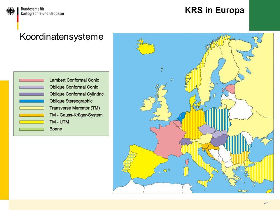 41 KRS in Europa Koordinatensysteme