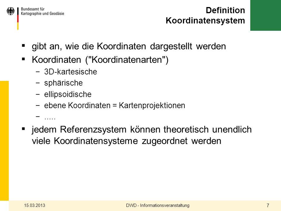 Definition Koordinatensysteme DWD - Informationsveranstaltung15.03.2013 8 ebene Koordinatensysteme Kartenprojektionen N / E H / R x / y 3D- kartesische X / Y / Z ellipsoidische B / L / h
