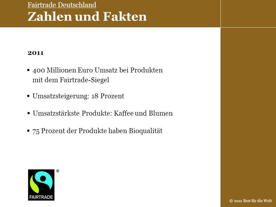 © 2012 Brot für die Welt 400 Millionen Euro Umsatz bei Produkten mit dem Fairtrade-Siegel 75 Prozent der Produkte haben Bioqualität Umsatzstärkste Pro