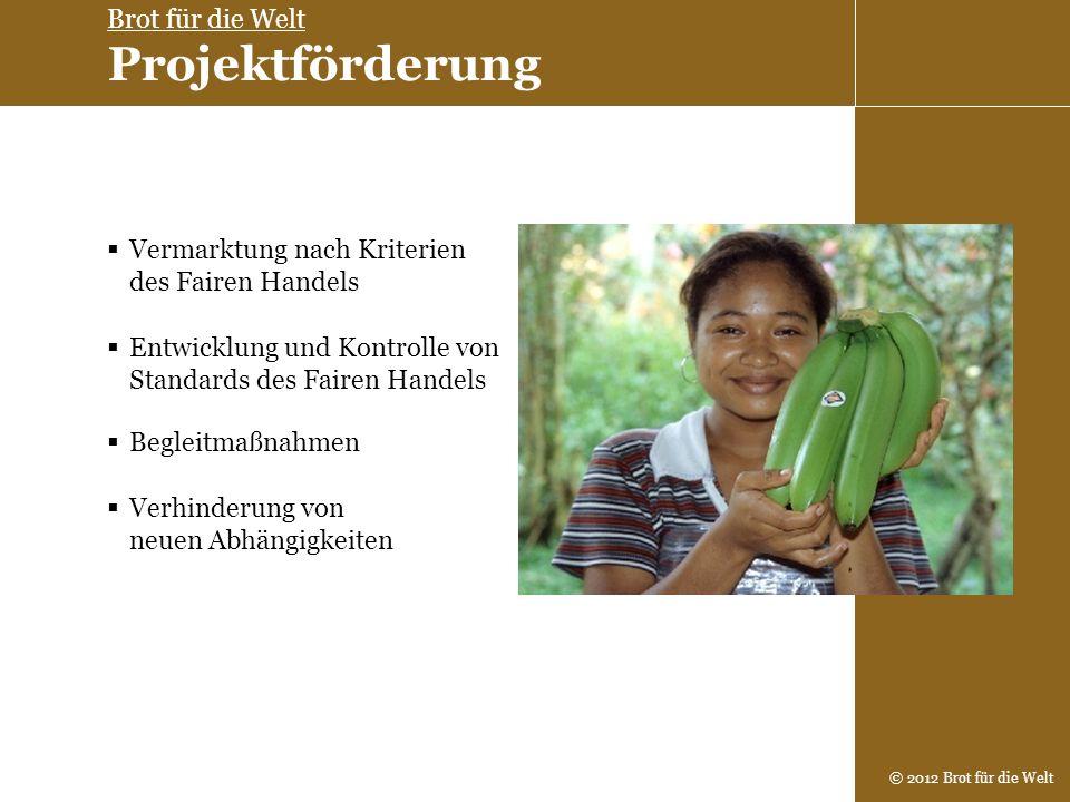 © 2012 Brot für die Welt Vermarktung nach Kriterien des Fairen Handels Entwicklung und Kontrolle von Standards des Fairen Handels Begleitmaßnahmen Ver