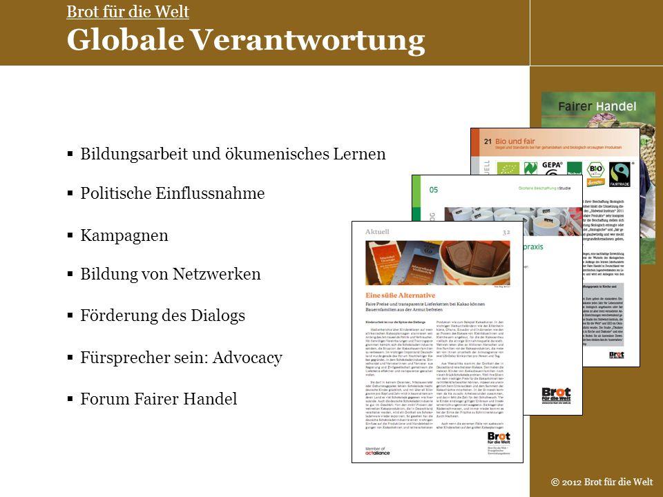 © 2012 Brot für die Welt Politische Einflussnahme Bildung von Netzwerken Bildungsarbeit und ökumenisches Lernen Kampagnen Förderung des Dialogs Fürspr