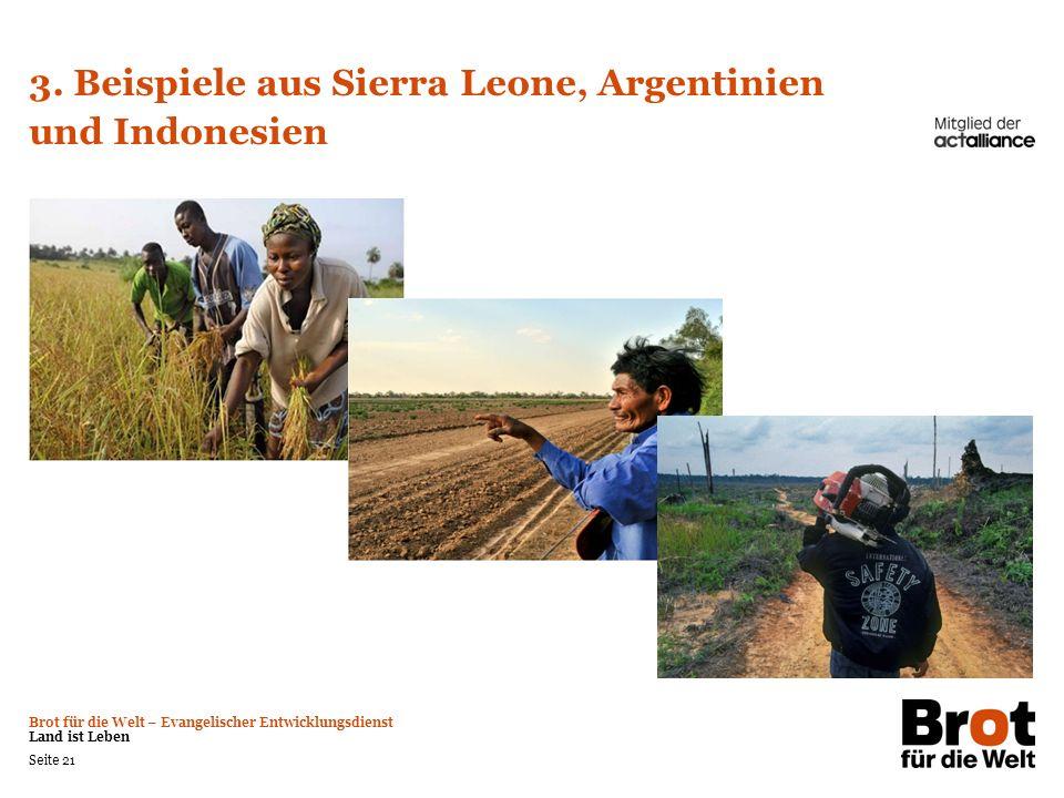 Brot für die Welt – Evangelischer Entwicklungsdienst Land ist Leben Seite 21 3. Beispiele aus Sierra Leone, Argentinien und Indonesien